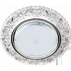 Ecola GX53 H4 LD7040 Светильник встр. искристый с подсветкой Бабочки Прозрачный / Хром 35x125 (к+)