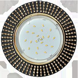 Ecola GX53 H4 5364 Glass Круг с прозр.стразами (оправа золото)/фон черн./центр.часть золото 40x120 (к+)