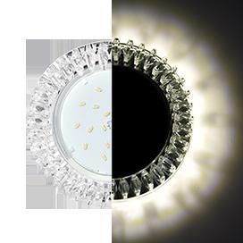 Ecola GX53 H4 LD5361 Glass Круг с прозрачными стразами Гребенка с подсветкой/фон зерк./центр.часть хром 52x120 (к+)